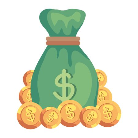 sack with coins dollars vector illustration design 스톡 콘텐츠 - 129825429
