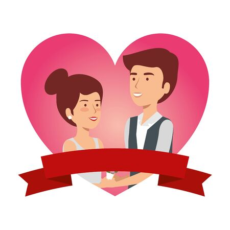 recently married couple in heart frame vector illustration design Standard-Bild - 129825432