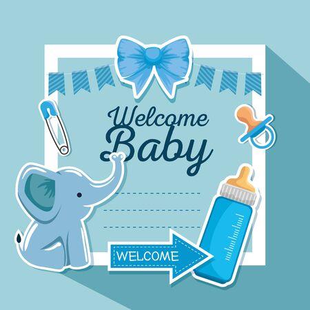 card decoration invitation with feeding bottle and elephant to baby shower vector illustration Çizim