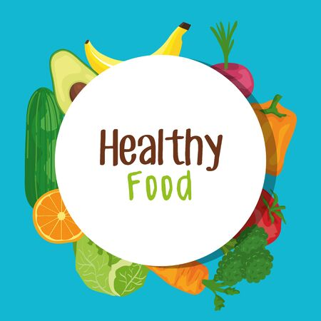 label of fresh vegetables and fruits organic nutrition to healthy food vector illustration