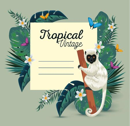 tropical card with lemur and butterflies with flowers vector illustration