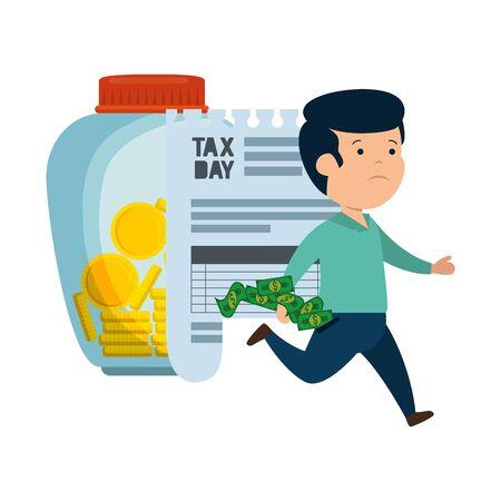depressed man for money with tax jar vector illustration design
