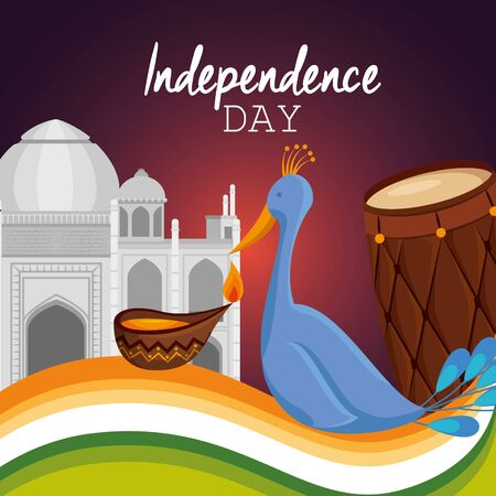 poster of india independence day celebration with taj mahal and turkey vector illustration Ilustração
