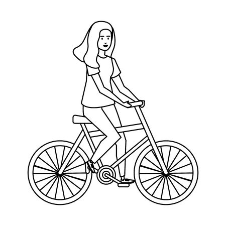 young woman in bicycle character vector illustration design Illustration
