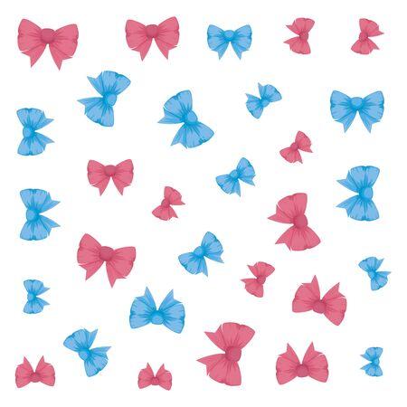bowtie ribbon decorative pattern background vector illustration design