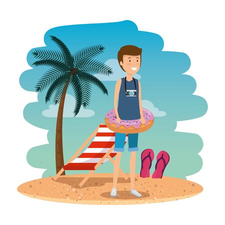 young man with swimsuit and float donut on the beach vector illustration design