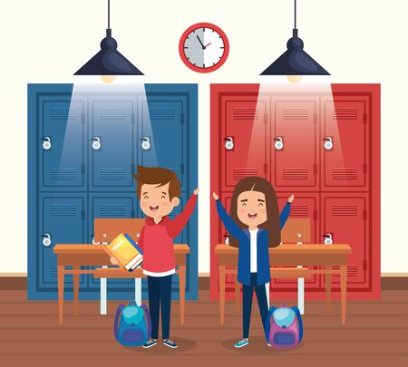 boy and girl students with backpacks and lockers to back to school vector illustration