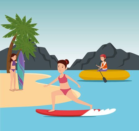 girls training healthy fitness exercise to summer sport vector illustration