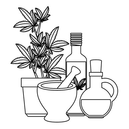 cannabis plant in pot with grinder and essences bottles vector illustration design