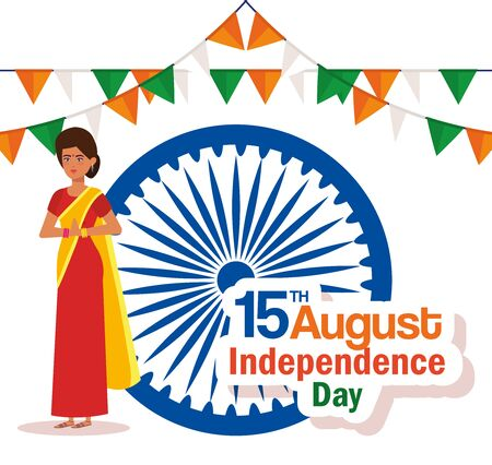 india woman with emblem and party banner to independence day vector illustration