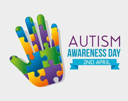 hand puzzles with ribbon to autism day vector illustration Stock Illustratie