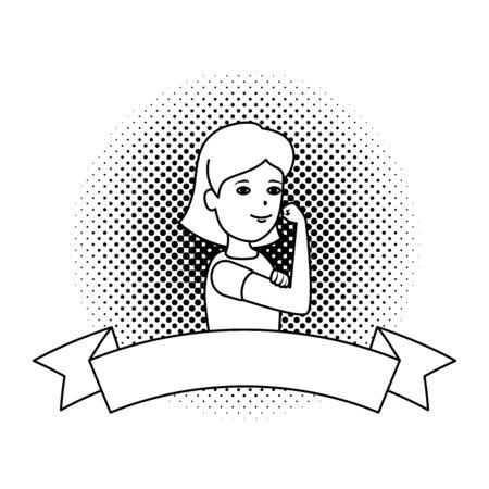 beautiful strong woman with ribbon frame vector illustration design Ilustração