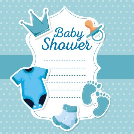 card of crown and pacifier with pijama decoration to baby shower vector illustration Çizim