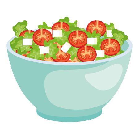 Cuenco de cerámica con ensalada de verduras, diseño de ilustraciones vectoriales
