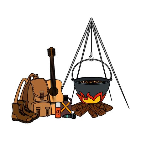 camping travel bag with woodfire and equipment vector illustration design 版權商用圖片 - 129825493