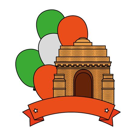 indian gate arch monument with balloons helium vector illustration design Stock fotó - 129825501