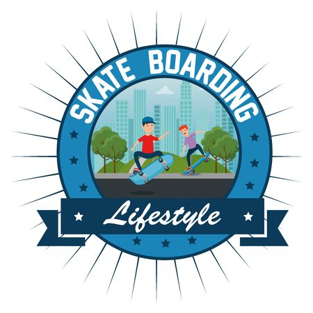 label of boys playing skateboard in the park with ribbon style vector illustration