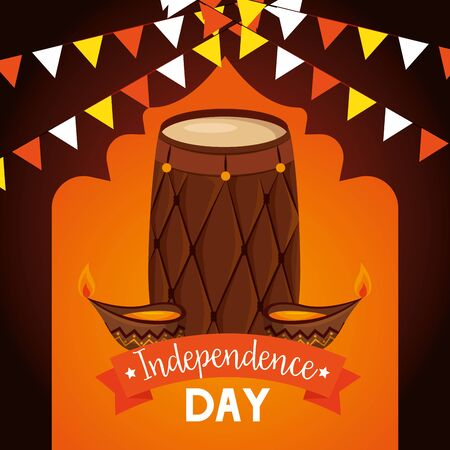 barrel with candles and party banner decoration to independence day vector illustration  イラスト・ベクター素材