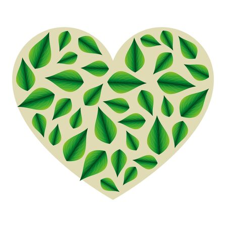 ecology leafs plant heart love vector illustration design