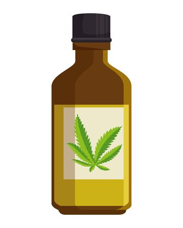 bottle with cannabis extract product vector illustration design