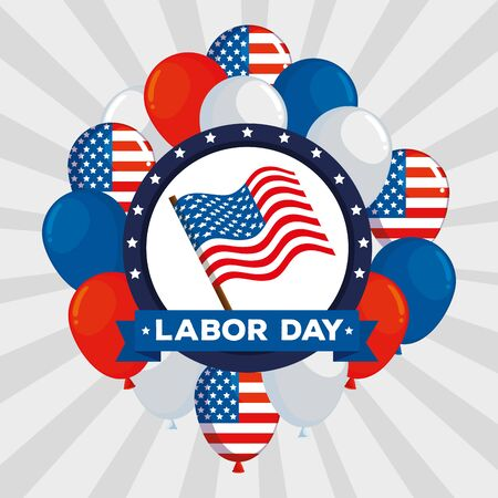 label of usa flag with balloons and ribbon to labor day, vector illustration