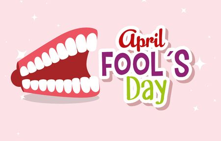 funny teeth to fools day celebration vector illustration