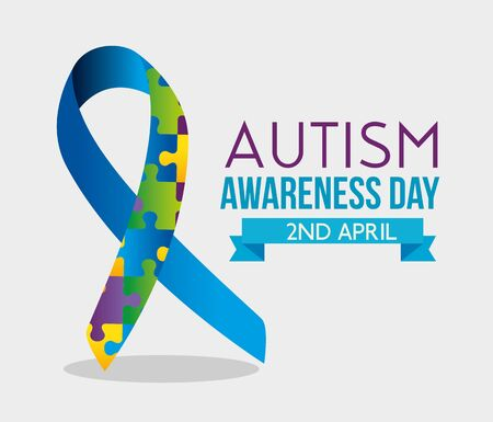 ribbon puzzles and ribbon to autism day vector illustration