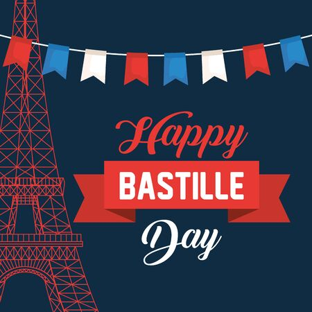 eiffel tower with party banner and ribbon to bastille celebration Zdjęcie Seryjne - 129825520