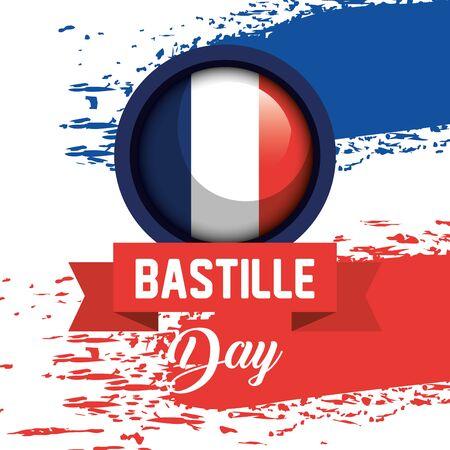 france flag with ribbon to bastille celebration on july 14 vector illustration