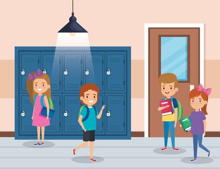 girls and boys students with books and lockers to back to school vector illustration