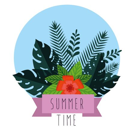 tropical flower with exotic leaves plants and ribbon to summer time vector illustration Illusztráció