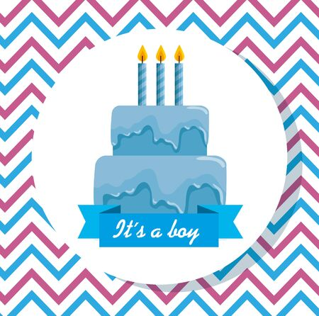 label of blue cake with candles and ribbon decoration to baby shower vector illustration Çizim
