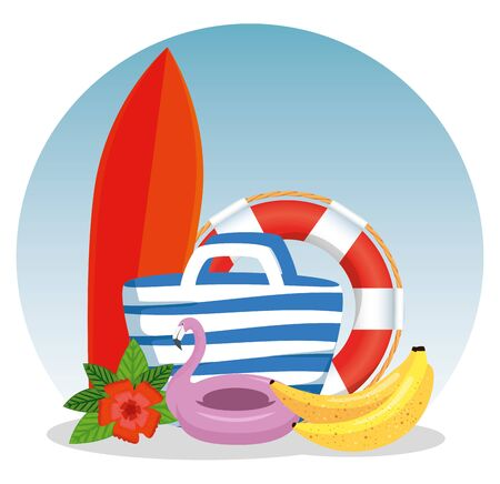 surfboard with purse and flamish float with flower and bananas to times vector illustration