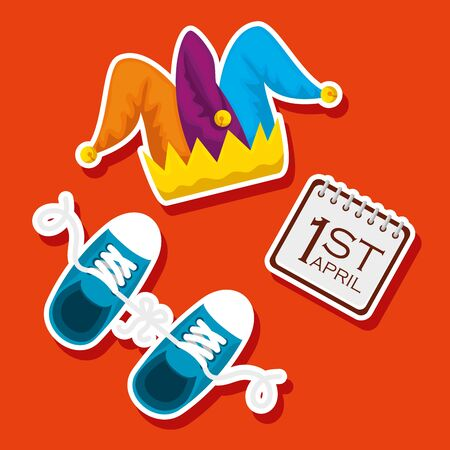 fanny joker hat and sneaker to fools day vector illustration