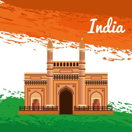 poster of india architecture of holiday patriotism to independence day vector illustration