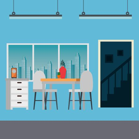 house place dinning room scene vector illustration design