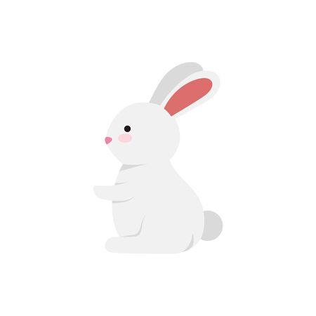 cute and little rabbit character vector illustration design Çizim