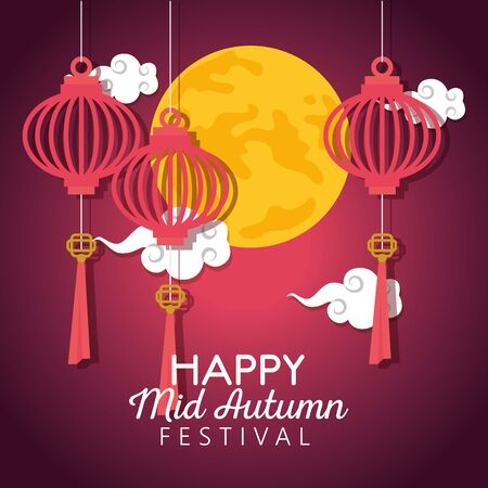 lanterns hanging decoration with clouds and moon to happy mid autumn festival, vector illustration