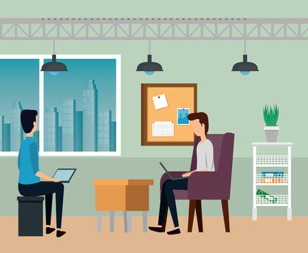 businessmen teamwork with laptops and sitting in the chairs to business office, vector illustration