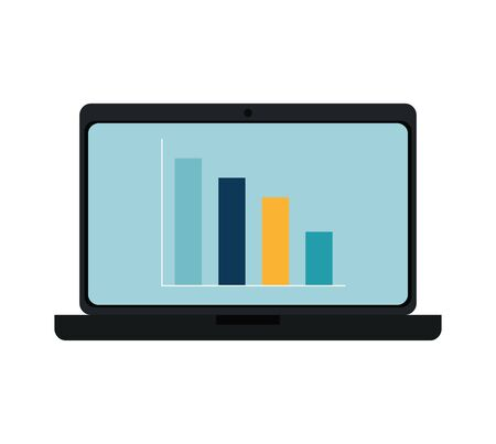 laptop computer with bars statistics vector illustration design