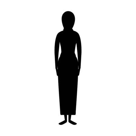 silhouette of islamic woman with traditional burka vector illustration design  イラスト・ベクター素材