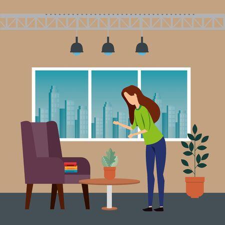 elegant businesswoman worker in the office vector illustration design Illustration