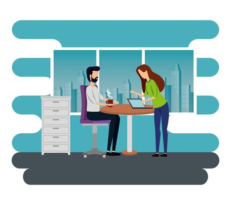 businesswoman and businessman with laptop and hot coffee cup to business office, vector illustration