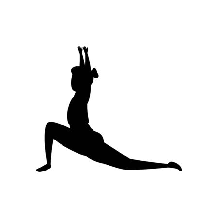 silhouette of woman practicing pilates position vector illustration design Banque d'images - 129825690