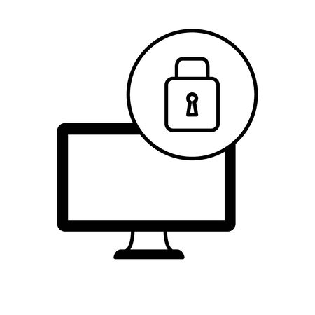 desktop computer device with padlock vector illustration design Illusztráció