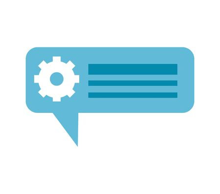 speech bubble message with gear vector illustration design Illusztráció
