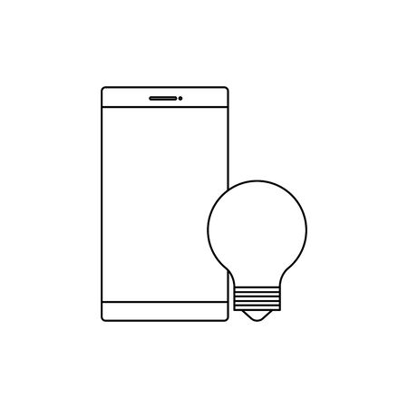 smartphone device with bulb light vector illustration design