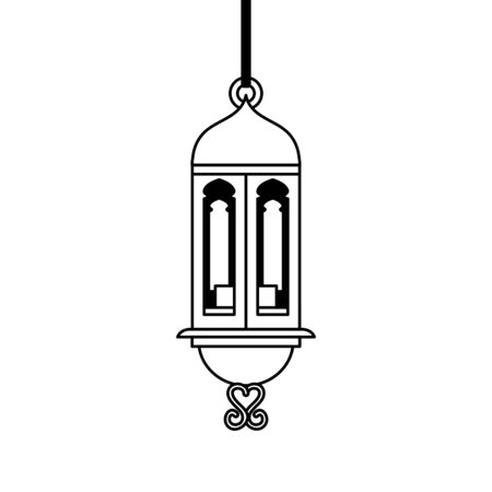 ramadan kareem lamp hanging decoration vector illustration design 스톡 콘텐츠 - 129825708