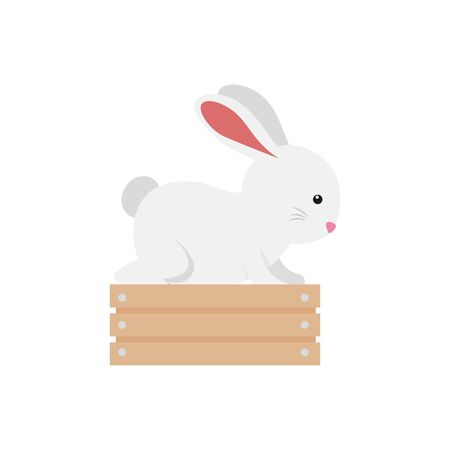 cute and little rabbit in wooden box character vector illustration design Çizim
