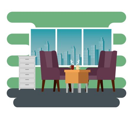 hot coffee cups in the desk with chairs and file cabinet to business office, vector illustration Vettoriali